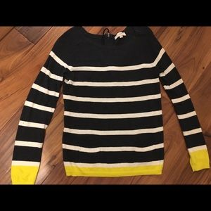 Loft Striped Sweater with front detail pockets.
